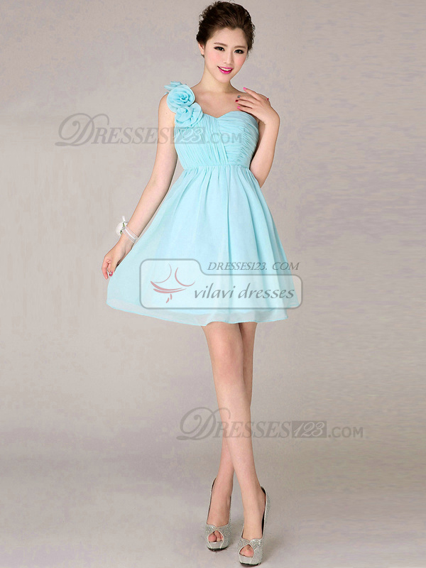 A-line One Shoulder Short Chiffon Light Sky Blue Flower Bridesmaid Dresses