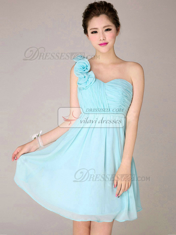 A-line One Shoulder Short Chiffon Light Sky Blue Flower Bridesmaid ...
