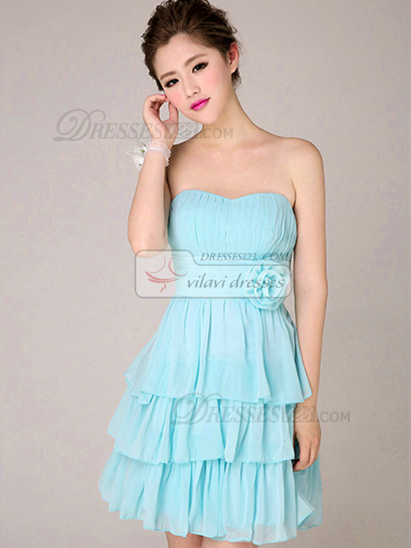 Princess Strapless Short Chiffon Light Sky Blue Tiered Flower Bridesmaid Dresses