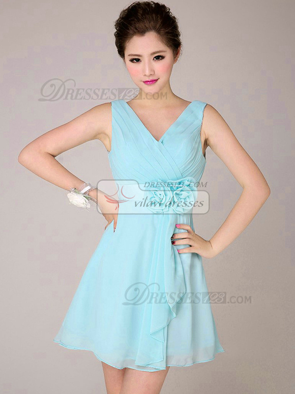 A-line V-neck Short Chiffon Light Sky Blue Bridesmaid Dresses With ...