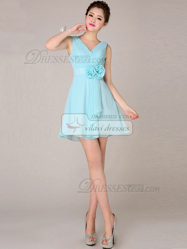 A-line V-neck Short Chiffon Light Sky Blue Bridesmaid Dresses With Flowers