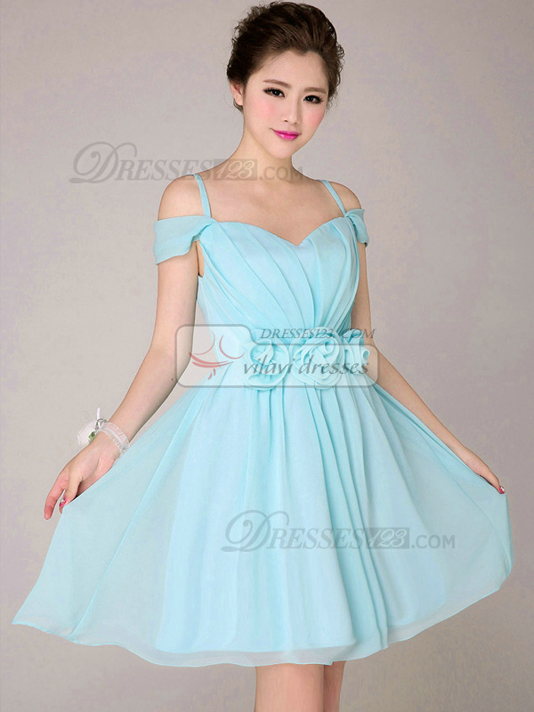A-line Off-the-Shoulder Short Chiffon Flower Light Sky Blue Bridesmaid Dresses
