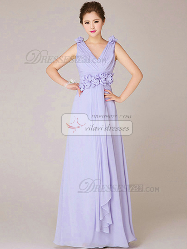 A-line V-neck Floor-length Chiffon Flower Lilac Bridesmaid Dresses
