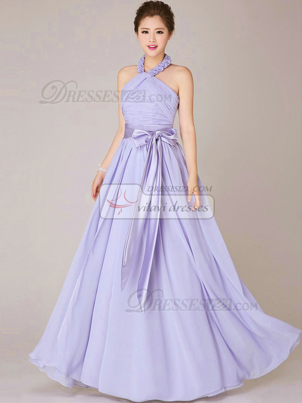 A-line  Halter Floor-length Chiffon Lilac Flowers Sashes Bridesmaid Dresses