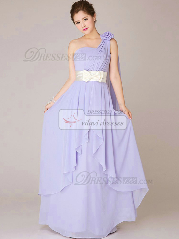 A-line One Shoulder Floor-length Chiffon Bowknot Lilac Bridesmaid Dresses