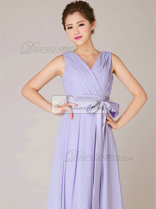 A-line V-neck Floor-length Chiffon Lilac Sashes Bridesmaid Dresses