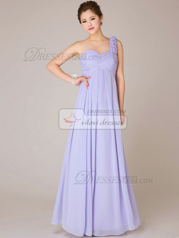 A-line One Shoulder Floor-length Chiffon Flower Lilac Bridesmaid Dresses