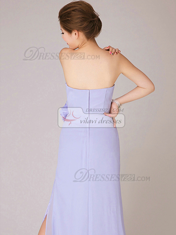 A-line Strapless Floor-length Chiffon Lilac Side-draped Bridesmaid Dresses