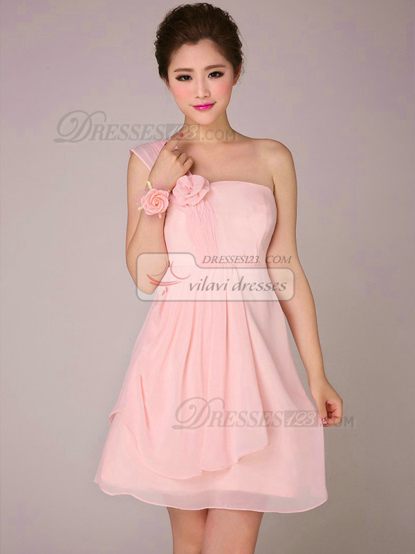 A-line One Shoulder Short Chiffon Pink Flower Bridesmaid Dresses