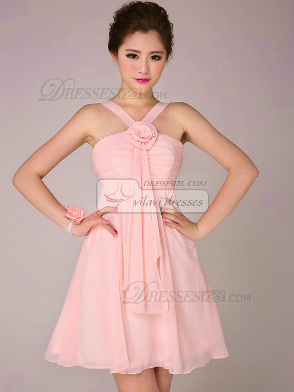 A-line Straps Short Chiffon Ruched Pink Bridesmaid Dresses