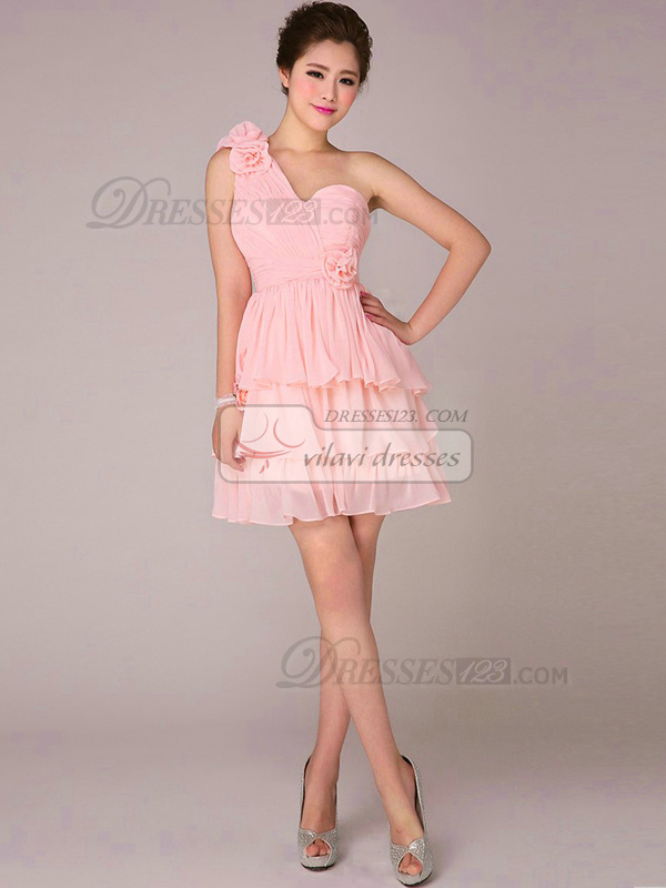 A-line One Shoulder Short Chiffon Tiered Pink Bridesmaid Dresses