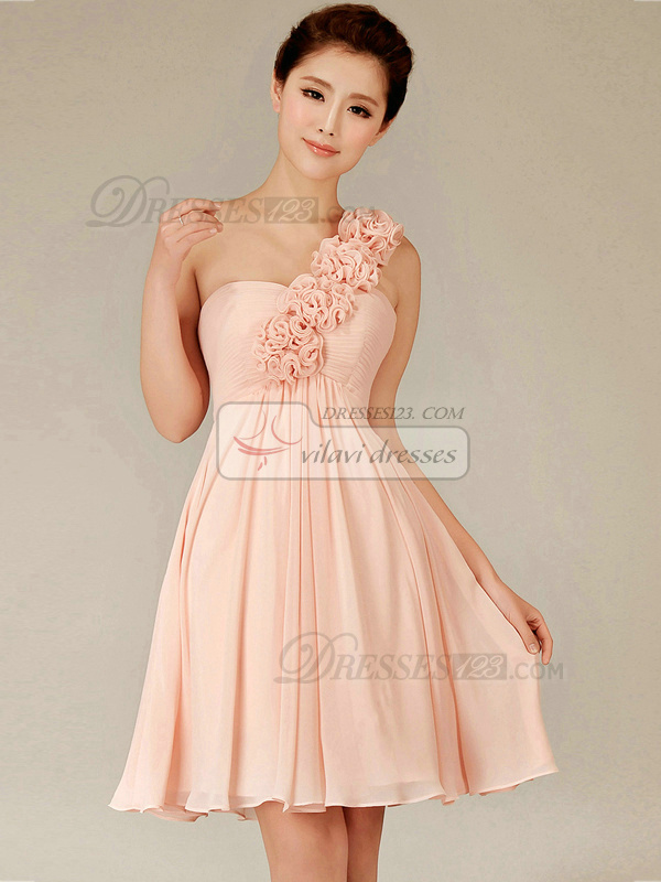 A-line One Shoulder Short Chiffon Pink Flower Bridesmaid Dresses ...