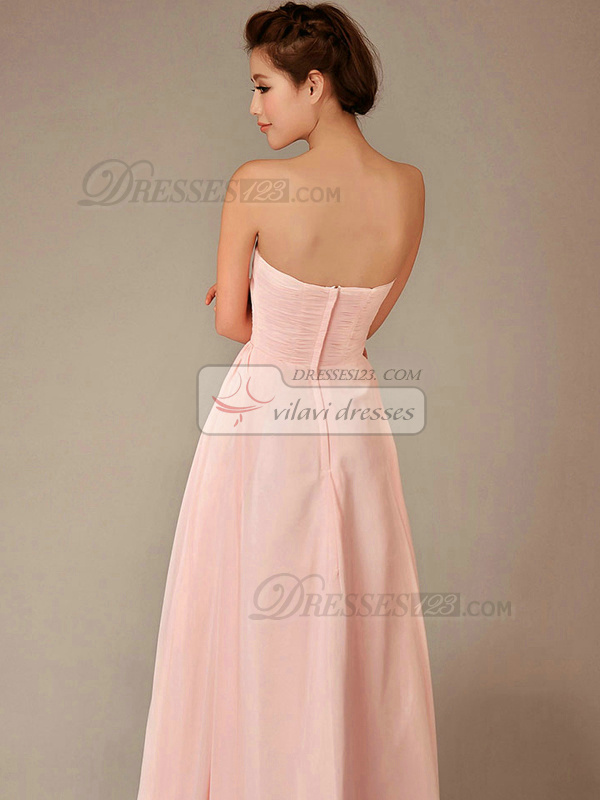 A-line Strapless Floor-length Chiffon Draped Pink Bridesmaid Dresses