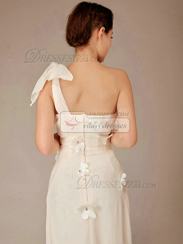 Column One Shoulder Brush Train Chiffon Crystal Champagne Bridesmaid Dresses