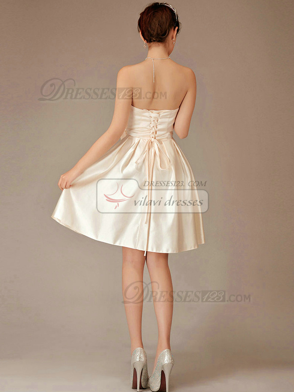 A-line Strapless Short Chiffon Champagne Bowknot Bridesmaid Dresses