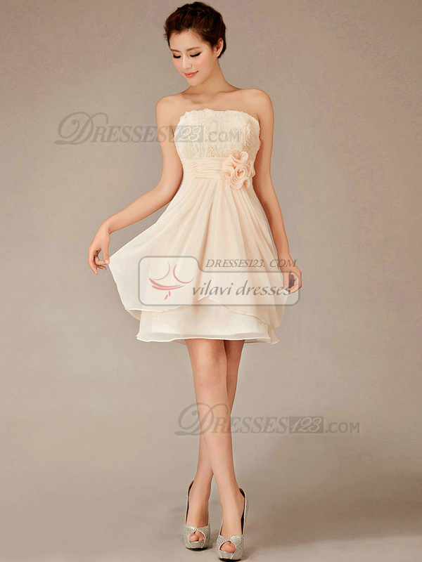 A-line Strapless Mini Chiffon Flower Champagne Bridesmaid Dresses