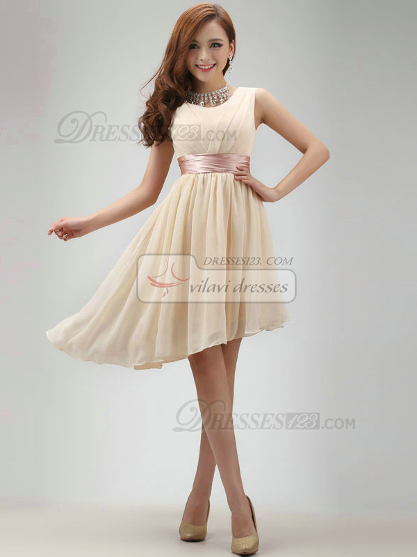 A-line Round Brought Short Asymmetrical Chiffon Champagne Sashes Bridesmaid Dresses