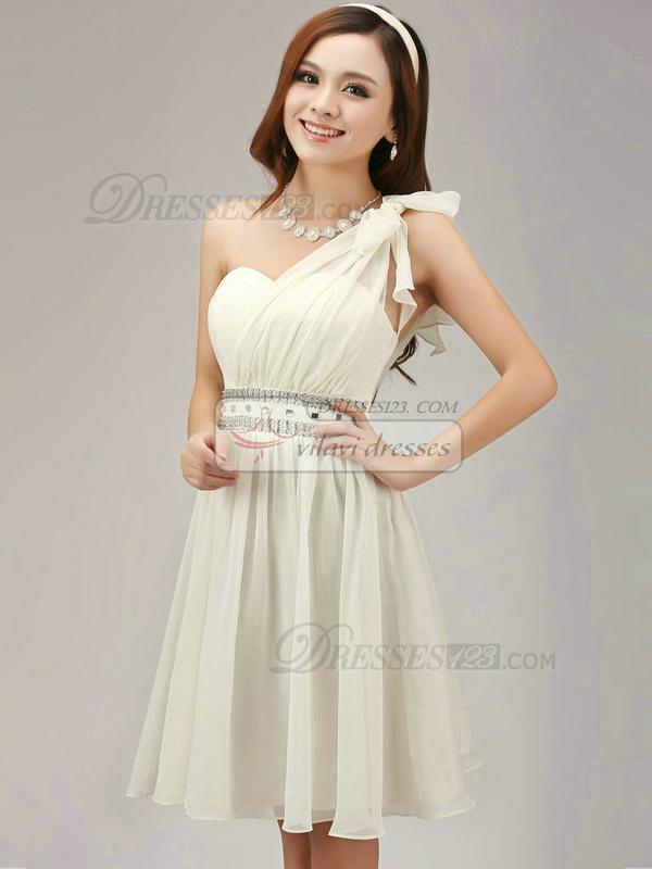 A-line One Shoulder Short Chiffon Crystal Ivory Bridesmaid Dresses