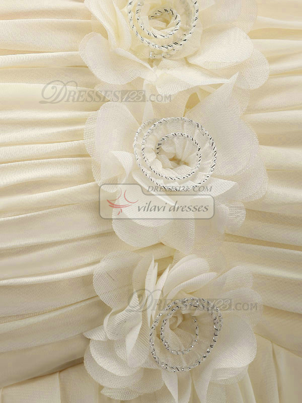 A-line Short One Shoulder Chiffon Flower Ivory Bridesmaid Dresses