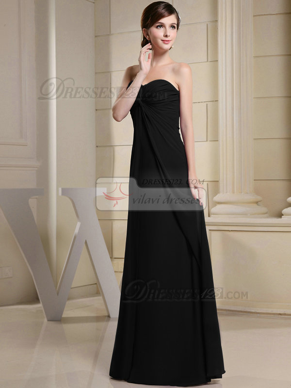 Perfect Sheath/Column Chiffon Sweetheart Floor-length Black Evening Dresses