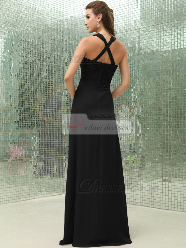 Fabulous Sheath/Column Chiffon Floor-length Tiered Black Bridesmaid Dresses