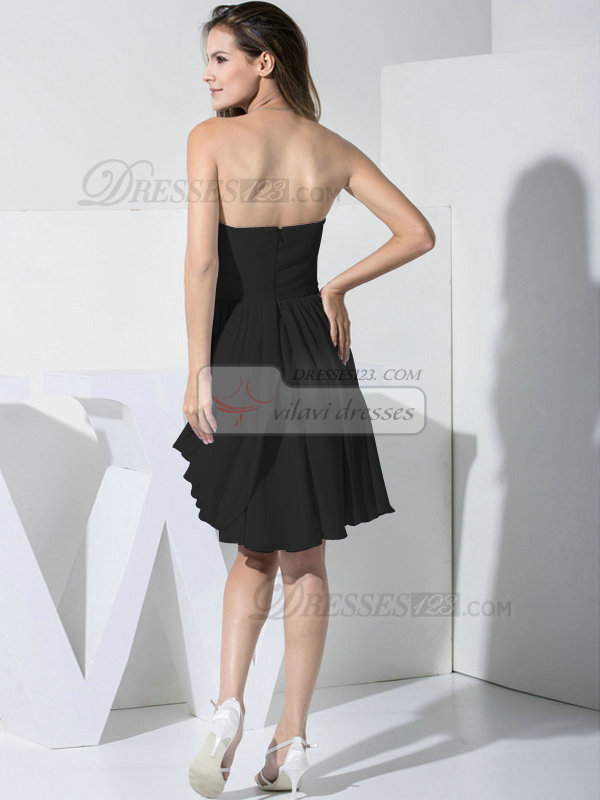 Glamorous A-line Chiffon Sweetheart Draped Cocktail Dresses