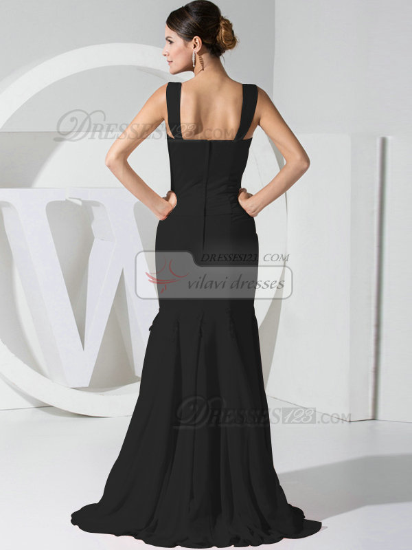 Intelligent Mermaid/Trumpet Chiffon Straps Crystal/Rhinestone Black Bridesmaid Dresses