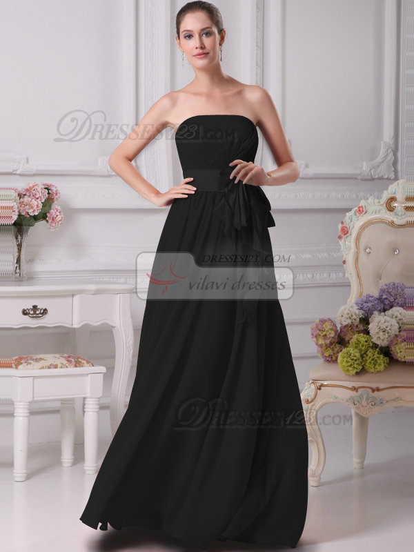 Gorgeous A-Line Chiffon Tube Top Sashes Black Bridesmaid Dresses