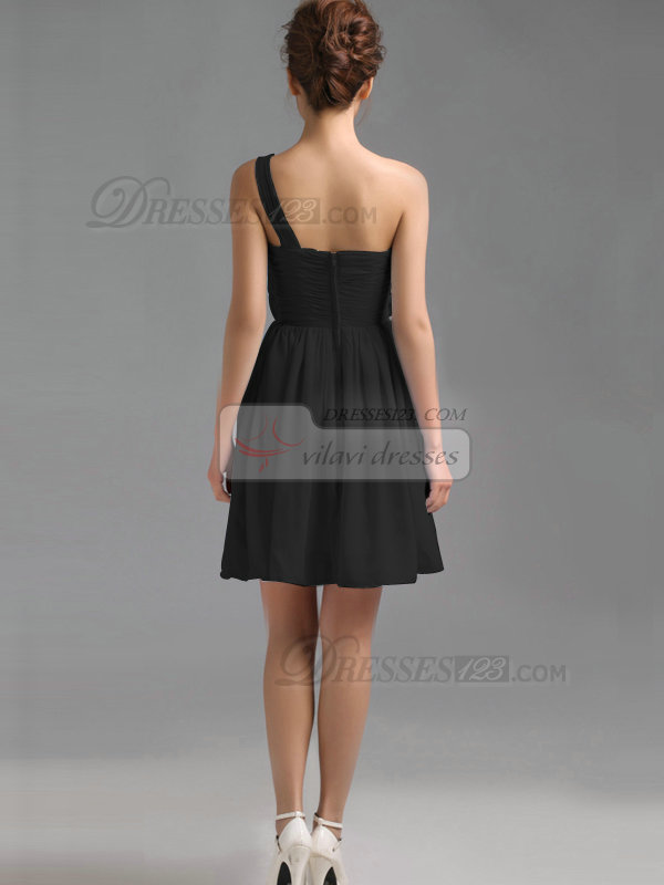 Lovely A-Line One shoulder Black Bridesmaid Dresses
