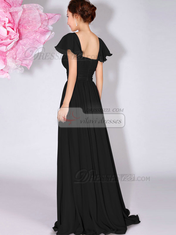 Precious A-Line Bateau Draped Black Bridesmaid Dresses