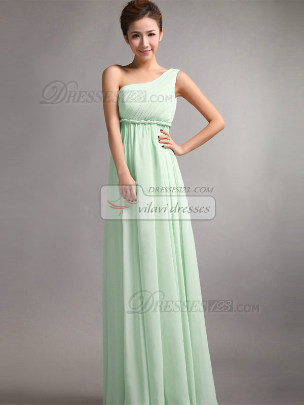 A-Line One Shoulder Floor Length Draped Sage Bridesmaid Dresses