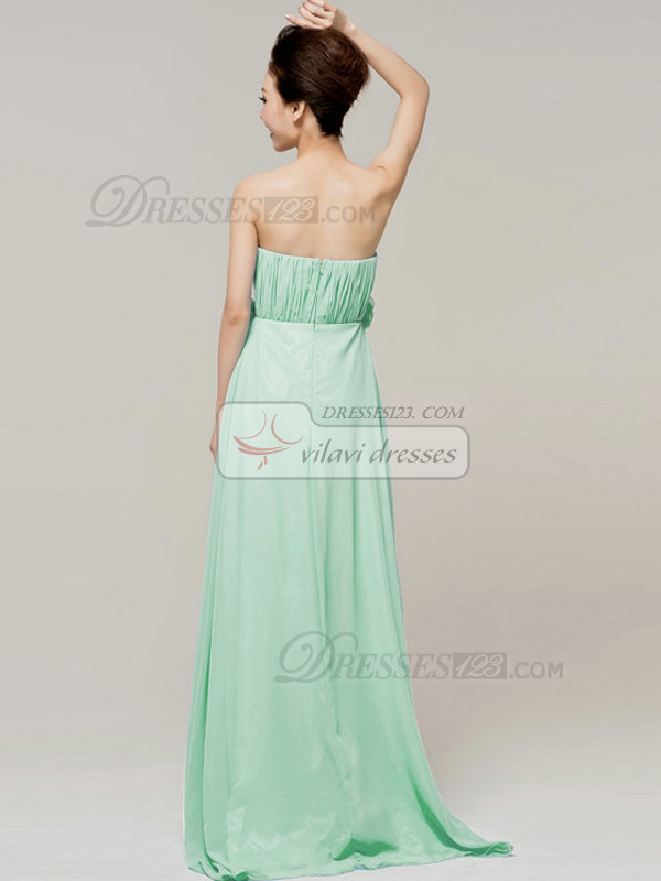 A-Line Floor Length Tube Top Strapless Flower Sage Bridesmaid Dresses