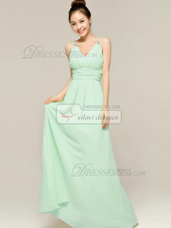 Column Floor Length Spaghetti Straps V Neck Draped Sage Bridesmaid Dresses