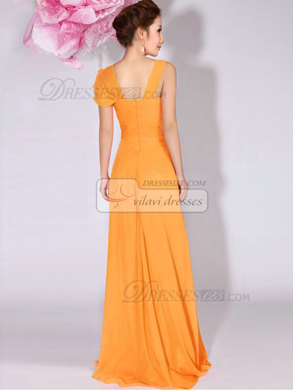 A-Line Sweetheart Straps Draped Floor Length Orange Bridesmaid Dresses