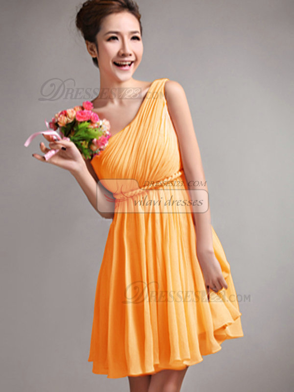 A-Line One Shoulder Draped Short Orange Bridesmaid Dresses