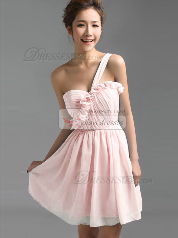 A-Line One Shoulder Falbala Short Draped Pink Bridesmaid Dresses