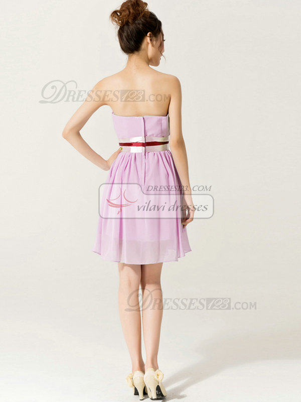 A-Line Sweetheart Strapless with Ribbons Short Pink Bridesmaid Dresses