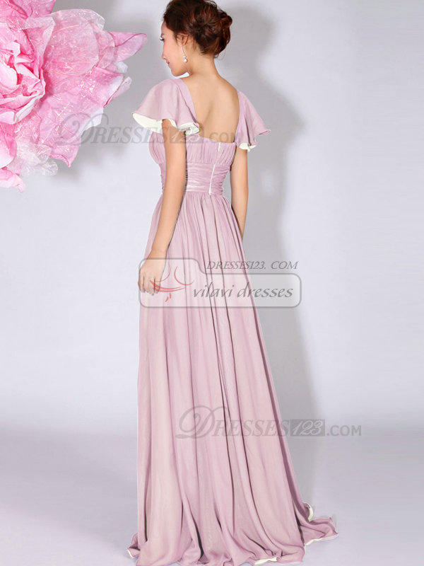 A-Line Bateau Draped Falbala Sleeves Floor Length Pink Bridesmaid Dresses