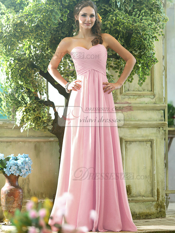 Ruched A-line Chiffon Sweetheart Floor-length Draped Light Pink Bridesmaid Dresses