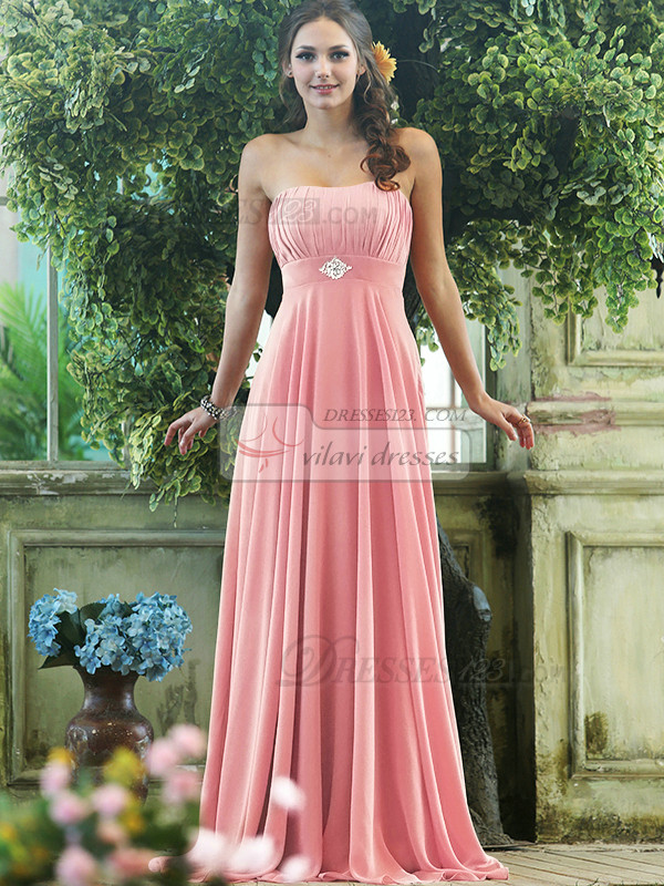 Pleated A-line Chiffon Strapless Floor-length with Crystals and Rhinestones Light Pink Bridesmaid Dresses