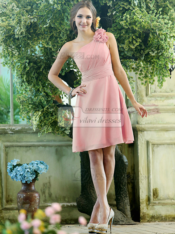A-line Chiffon One shoulder with Flowers Knee-length Light Pink Bridesmaid Dresses