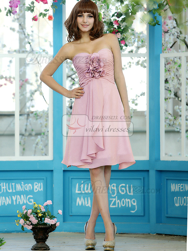 Ruched A-line Chiffon Sweetheart Knee-length Light Pink Bridesmaid Dresses