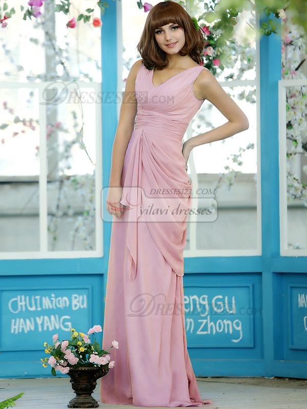 Ruched Sheath Chiffon Straps Floor-length Light Pink Draped Bridesmaid Dresses