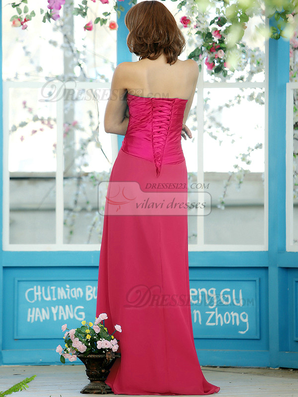 Sheath Chiffon Sweetheart Floor-length Draped Hot Pink Bridesmaid Dresses