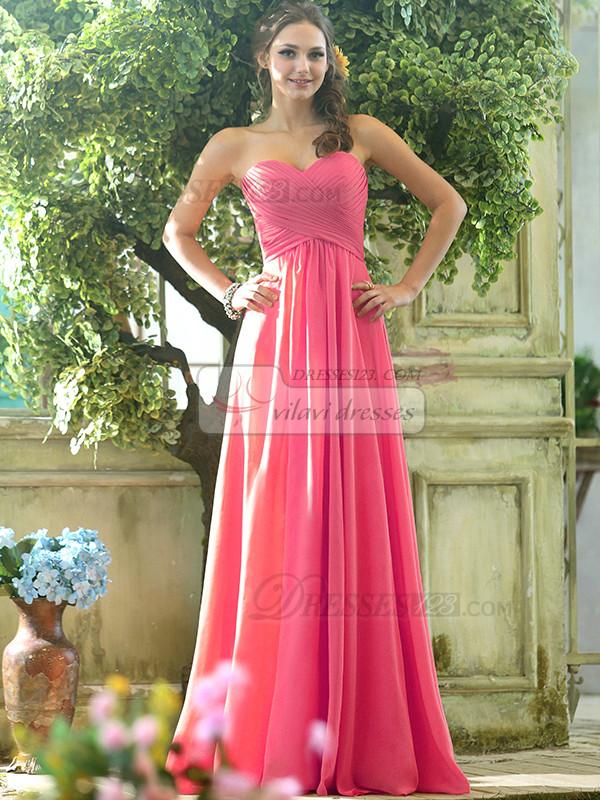 Ruched A-line Chiffon Sweetheart Floor-length Hot Pink Draped Bridesmaid Dresses