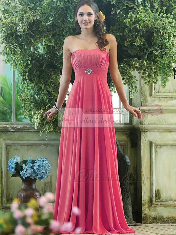 Pleated A Line Chiffon Strapless Floor Length Hot Pink Sash With Crystals And Rhinestones