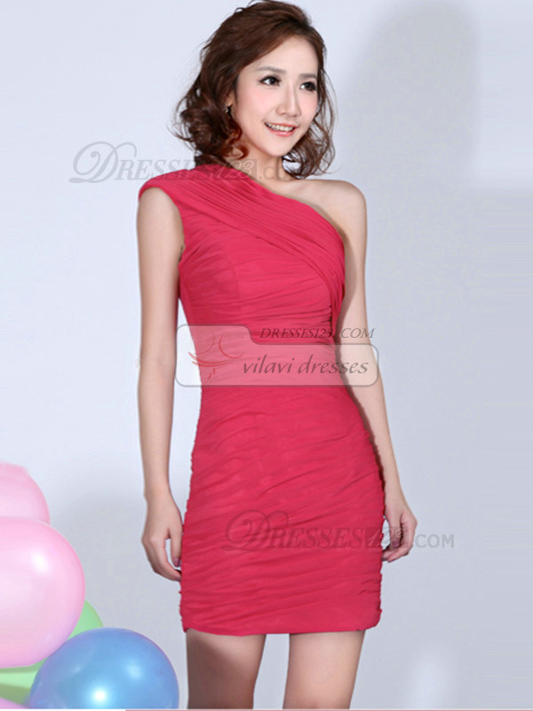 Sheath One Shoulder Ruched Short Hot Pink Bridesmaid Dresses