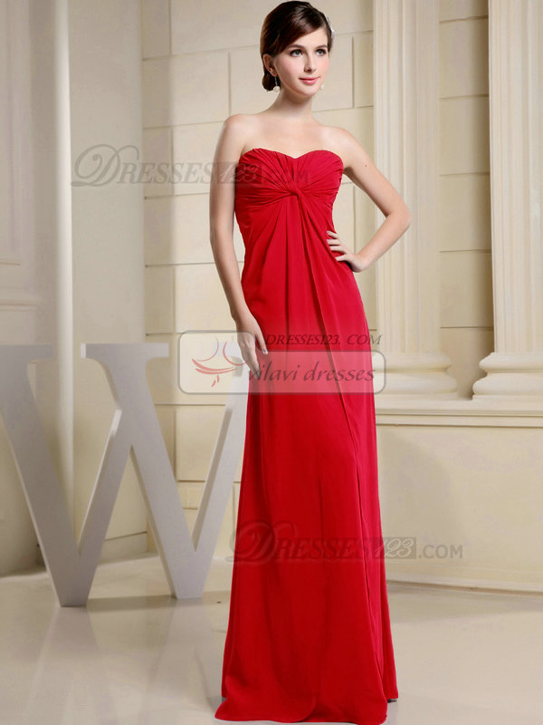 Column Chiffon Ruched Sweetheart Floor-length Red Bridesmaid Dresses