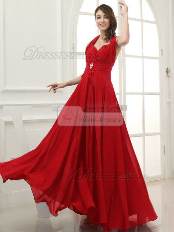 Column Chiffon Halter Floor-length Draped Red Bridesmaid Dresses