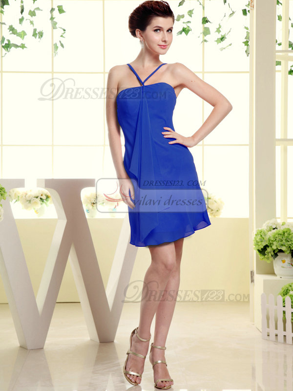 Sheath Chiffon Tube Top Spaghetti Straps Ruffle Short Royal Blue Bridesmaid Dresses
